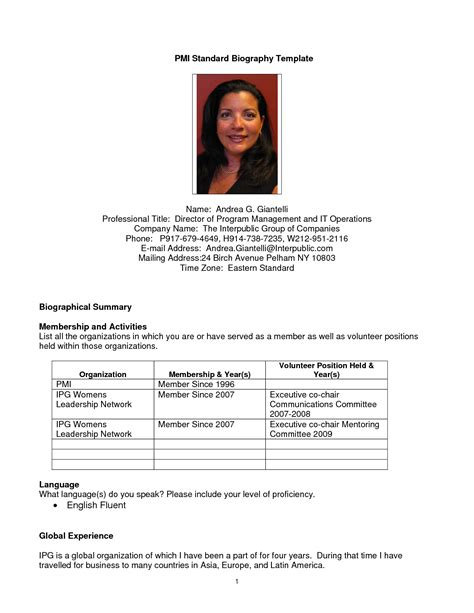 bio templates best photos of professional biography template exles