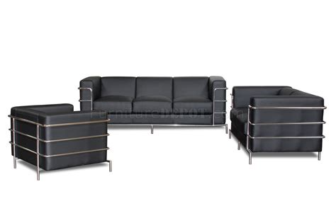 tube couch black bonded leather modern citadel sofa set w steel
