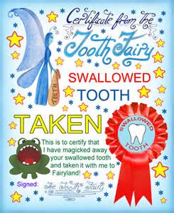 tooth fairy certificate swallowed tooth taken rooftop