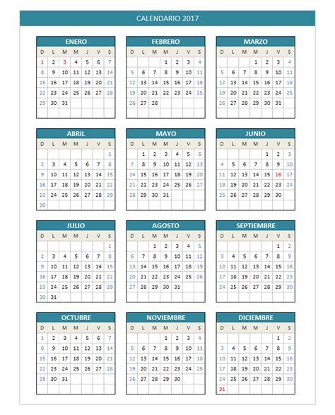 Calendario Laboral 2017 Por Semanas Calendario 2017 Domingo A S 225 Bado Planillaexcel