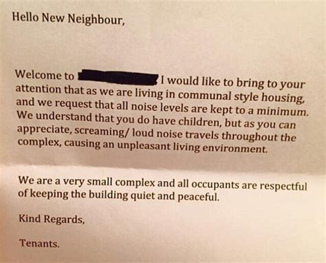 mother receives note complaining noisy children