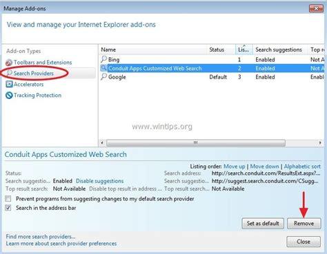 remove omnibox search in explorer remove conduit search conduit apps toolbar wintips org