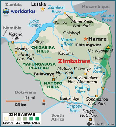 5 themes of geography zimbabwe zimbabwe large color map