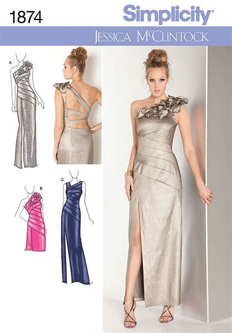 sewing pattern evening dress simplicity 1874 bridesmaid prom evening dress gown sewing