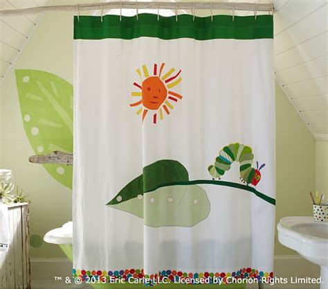 eric carle curtains the very hungry caterpillar shower curtain pottery barn