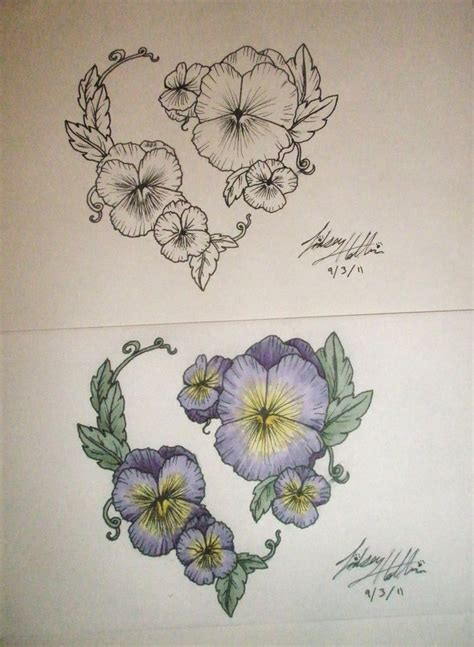 flower heart tattoos pansy design by linscatmeow on deviantart