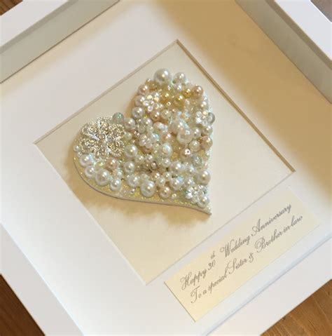 personalised pearl anniversary gift button art 30th wedding anniversary present framed