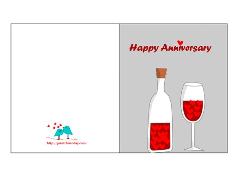 template for anniversary card free printable anniversary cards