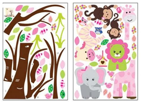 fungoo large colorful tree jungle animals wall sticker nursery bedro