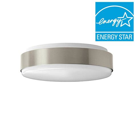 Bright Ceiling Light Hton Bay 11 In Brushed Nickel Bright Cool White Integrated Led Flushmount Ceiling