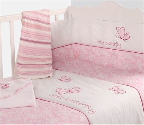 Baby Pink Cot Bedding Sets Baby Cot Nursery Bedding Quilt Bumper Pink Colour Butterfly Design