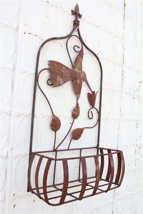 wrought iron 32 quot hummingbird half wall basket