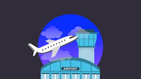 10 Year Background Check Airport - airport concept design animation stock footage