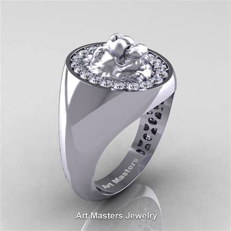 classic victorian 14k white gold diamond halo cluster