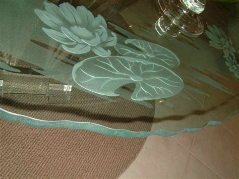 etched glass dining table lilly pad lotus glass dining tables sans soucie