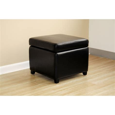black leather small storage cube ottoman see white