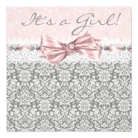 pink gray damask pink and gray baby shower card zazzle