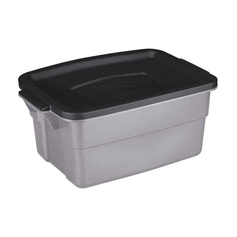 rubbermaid 3 gal roughneck storage tote gray black