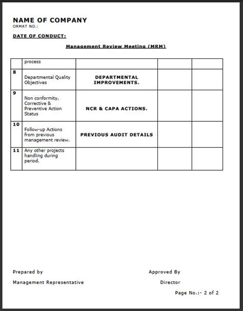 management review template management review meeting format sles word document