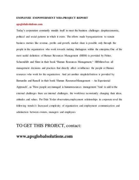 Mba Project Report On Employee Empowerment employee empowerment mba project report