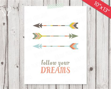 printable nursery quotes printable nursery quote wall art arrows follow your dreams