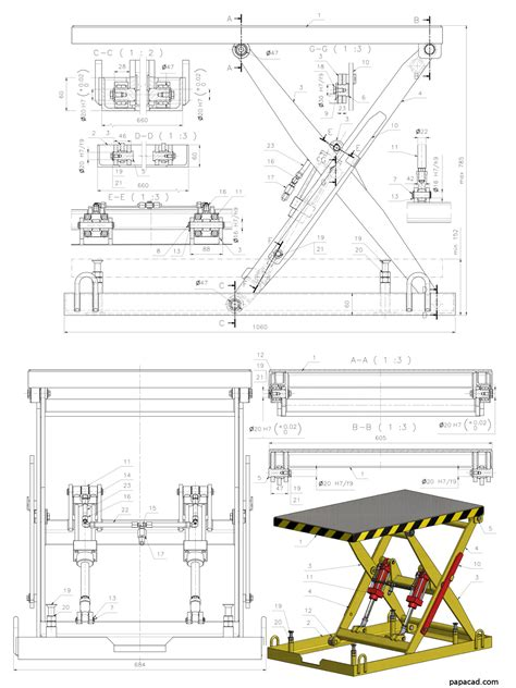 hydraulic drafting table diy scissor lift table 3d and 2d cad complete