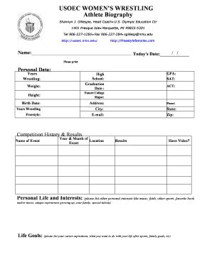 biography form template bio template forms fillable printable sles for pdf