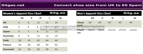 Spain Clothiers To Modify Fashion Sizes by New Year Shopping Convert Shoe Clothes Sizes From Uk To