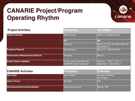 engineering proposal template ppt canarie project program operating rhythm powerpoint