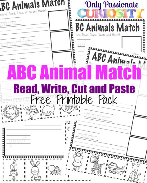 read write run cutting it abc animals read write cut and paste pack abcs for me