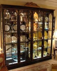 Black Curio Cabinet For Sale Large Drexel Lighted Mirrored Oriential Ebonized Black