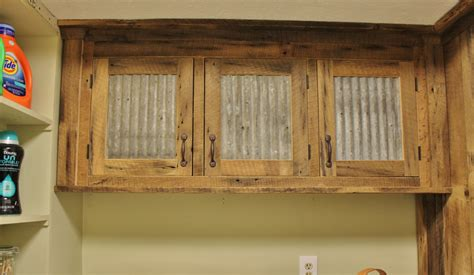 Pictures Of Kitchen Cabinets With Handles by Rustic Upper Cabinet Reclaimed Barn Wood W Tin Doors