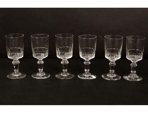 6 stemware liquor antique crystal glass french nineteenth