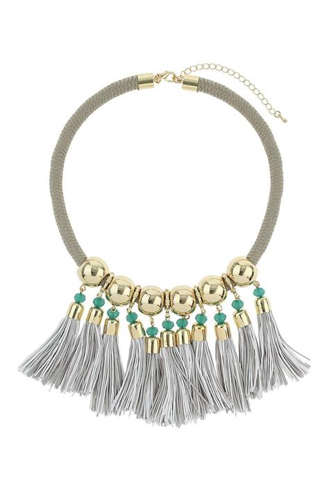 tassels for jewelry grey cord tassel necklace endource