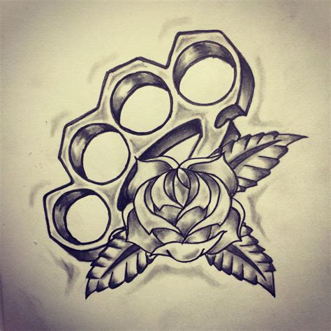 traditional brass knuckle rose tattoo sketch by ranz
