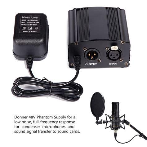 condenser microphone with phantom power new 48v phantom power supply with adapter for condenser microphone us ebay