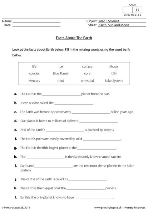 The Sun Worksheet Answers by Facts About The Earth Primaryleap Co Uk