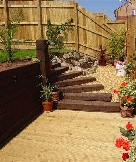 Garden Ideas With Sleepers by Patio Decking Railway Sleeper Steps Garden Decorating