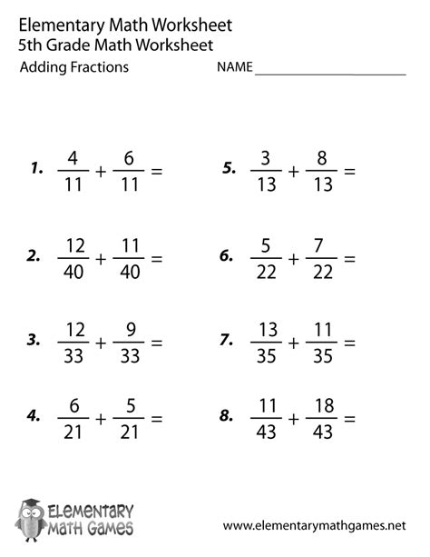 Printable 5th Grade Math Worksheets by Fifth Grade Adding Fractions Worksheet