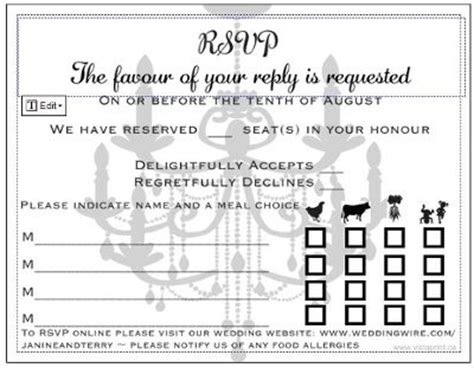 dinner response card template sit plated dinner rsvp cards can you post some pics