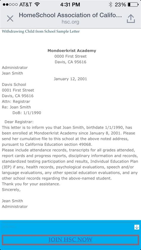 sample letter withdraw child school