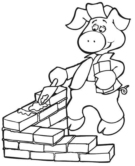 the three little pigs coloring page building with bricks