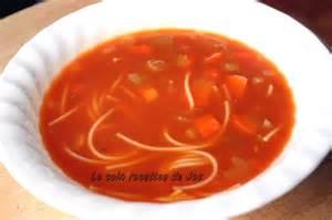 le coin recettes de jos soupe tomates et vermicelle