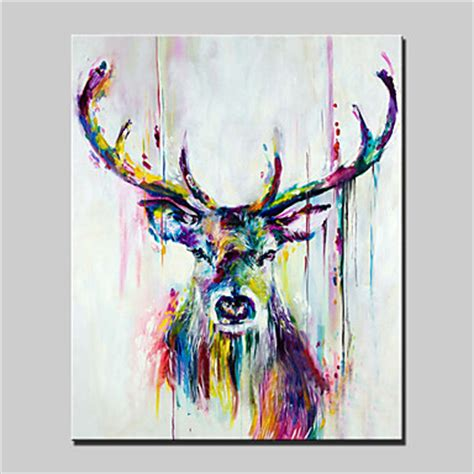 lager handpainted deer animal painting on canvas wall