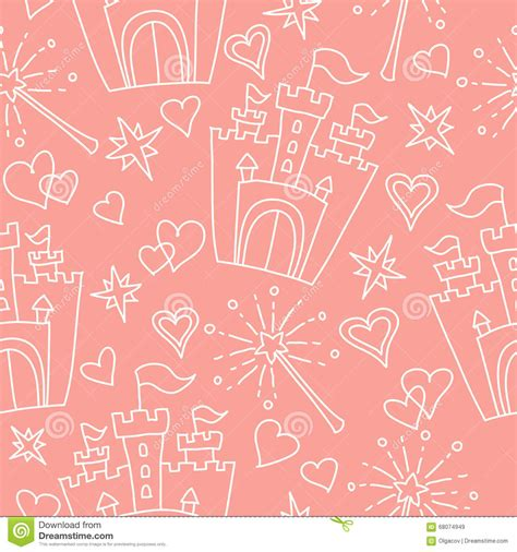 vector pattern hand drawn hand drawn vector seamless princess pattern stock vector