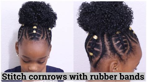 what rubber band for afro puff stitch cornrows using rubber bands for kids youtube