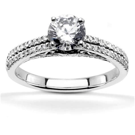 pave set low cathedral engagement ring 1 3 ct t
