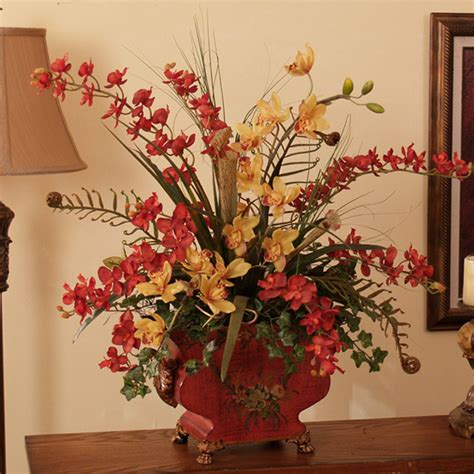 home decor floral arrangements mini red cymbidium silk orchids in asian planter o140