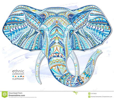 ethnic patterned head of elephant stock vector