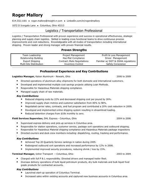 sle resume logistics 28 images logistics management
